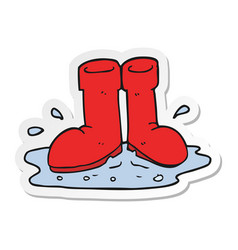 Sticker of a cartoon wellington boots in puddle vector