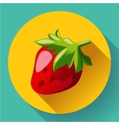 Strawberry icon with long shadow vector image