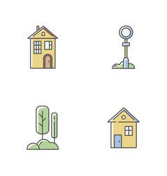 Suburban life rgb color icons set vector