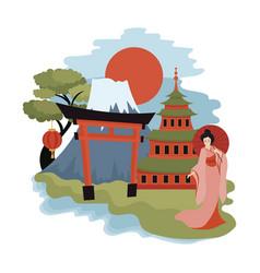 tokyo landscape cartoon sights vector image