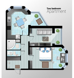 Top view of modern two bedroom vector