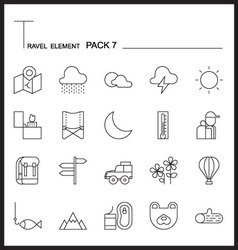 Travel Element Line Icon Set 7Camping vector image