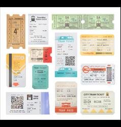 Vintage and modern tram tickets qr code vector