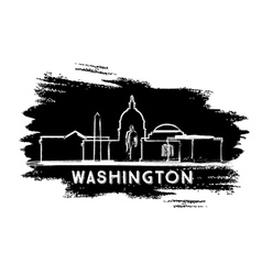 Washington DC Skyline Silhouette Hand Drawn Sketch vector