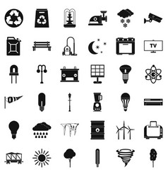 Windmill icons set simple style vector