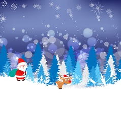 Winter forest background with deer and santaclaus vector