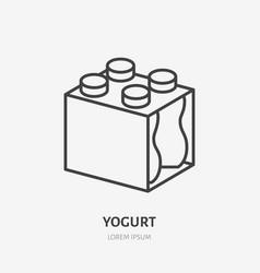 yogurt milk in plastic bottle pack flat logo vector image