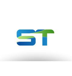 blue green st s t alphabet letter logo vector image vector image