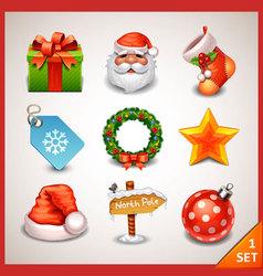 Christmas icon set-1 vector image vector image