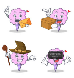 Cotton candy character set with envelope box witch vector