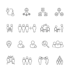 Human management icons resource people thin line vector