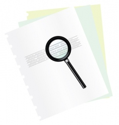 magnifying and document vector image vector image