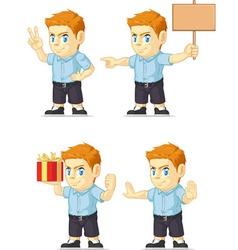 Red Head Boy Customizable Mascot 15 vector image vector image
