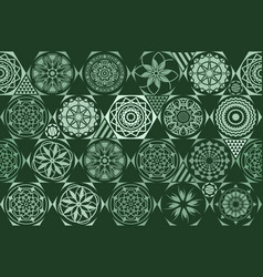 retro green different seamless patterns tiling vector image vector image