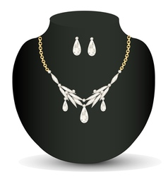 with white necklace and earrings with precious sto vector image