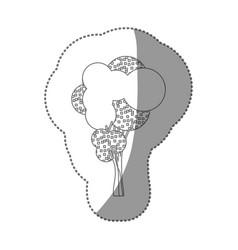 contour sticker stylized tree icon vector image