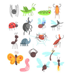 cute friendly insects set with cartoon bugs vector image vector image