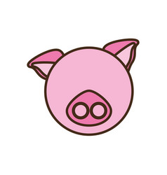 face pig cartoon animal vector image