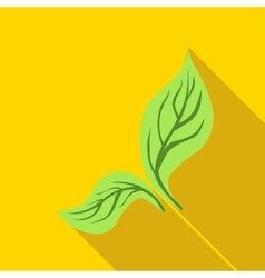 Green mint leaves icon flat style vector image