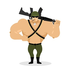 Soldier with rifle special forces with gun Warrior vector image