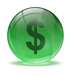 3D glass sphere and green dollar icon vector image vector image