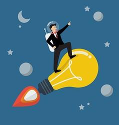 Businessman astronaut on a moving lightbulb idea vector image vector image