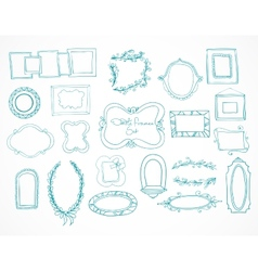 Collection of hand drawn doodle frames vector image vector image