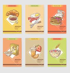 healthy breakfast hand drawn cards brochure vector image vector image