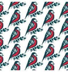 Seamless pattern with hand drawn bullfinch birds vector image