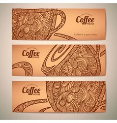 Set of decorative vintage coffee banners vector image vector image