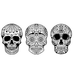 set of hand drawn sugar skulls isolated on white vector image vector image