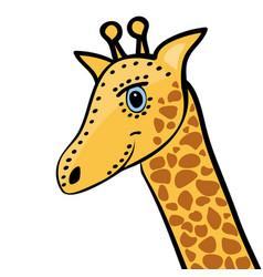 giraffe cute funny cartoon head vector image
