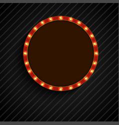Shining retro light of concept circle banner on bl vector
