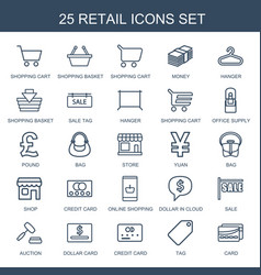 25 retail icons vector