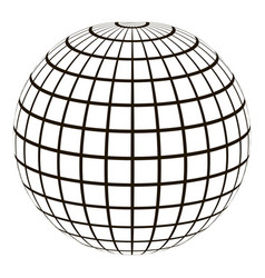 3d globe with a coordinate grid meridian vector