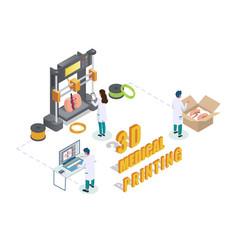 3d medical printing process flat isometric vector