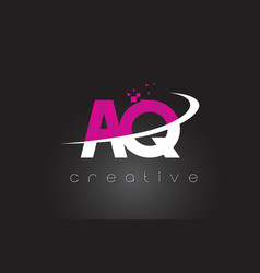 Aq a q creative letters design with white pink vector