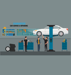 auto repair shop interior with mechanics or vector image