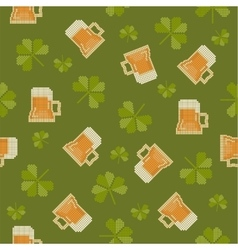 Big pixels styled St Partick day seamless pattern vector image