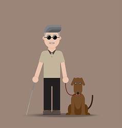 Blind Man with Dog vector