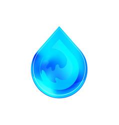 blue shiny water drop design vector image