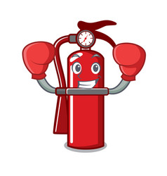 Boxing fire extinguisher character cartoon vector