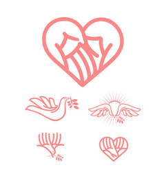 care and love symbol set vector image
