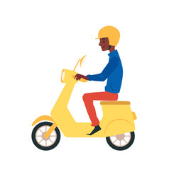 cartoon african man driving a yellow scooter vector image