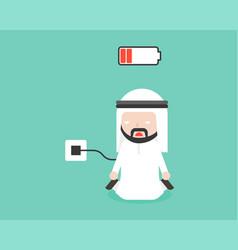 Charging battery arab businessman character ready vector