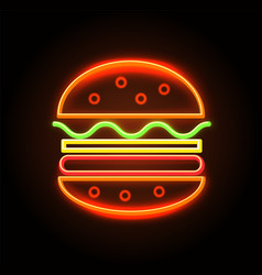 cheeseburger neon sign poster vector image