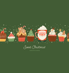 christmas and happy new year seamless border vector image