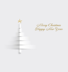christmas card with tree made from paper stripes vector image