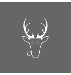 christmas deer head icon vector image