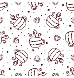 Christmas seamless pattern with cups and cookies vector
